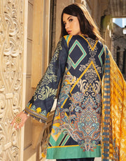 Beautiful embroidered Indian linen outfit in dark blue color # P2409