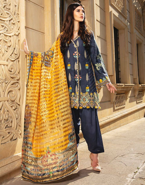 Beautiful embroidered Indian linen outfit in dark blue color