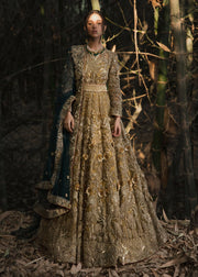Latest embellished Indian lining dress in gold color for wedding wear # B3405