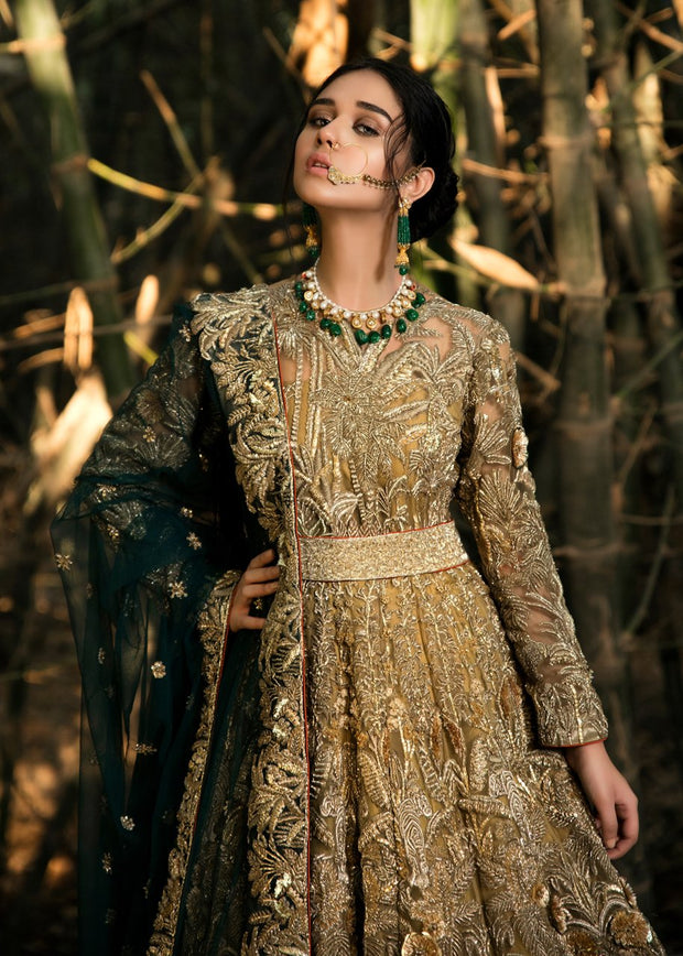 Latest embellished Indian lining dress in gold color for wedding wear