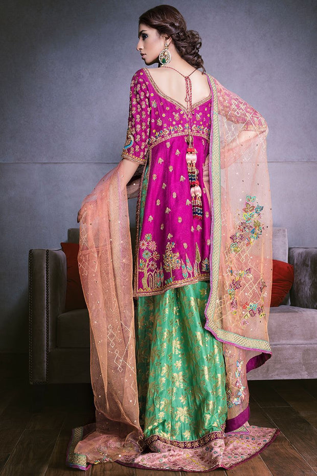 Beautiful Indian mehndi lehnga in pink and green color # B3311