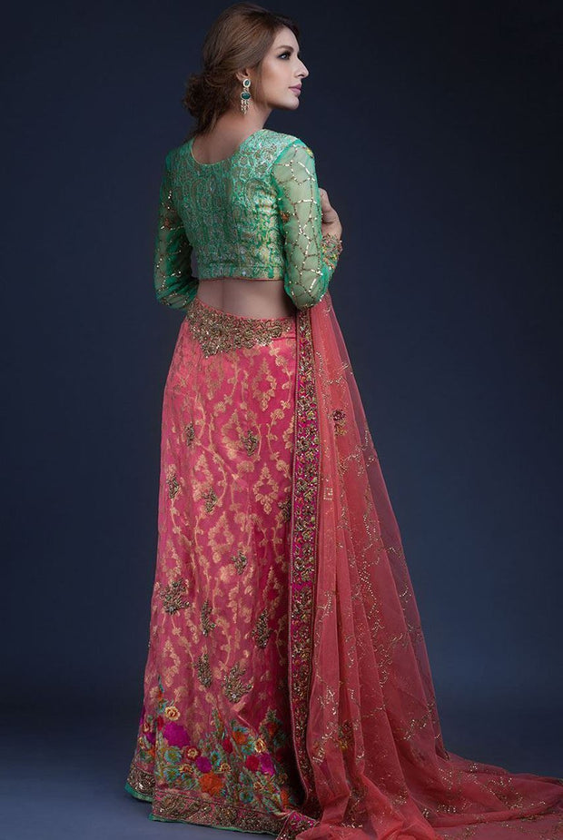 Indian mehndi lehnga dress in pink and green color # B3323