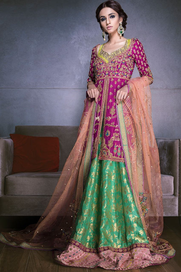 Beautiful Indian mehndi lehnga in pink and green color