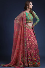 Indian mehndi lehnga dress in pink and green color
