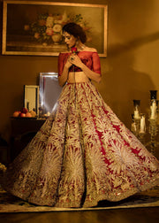 Latest embellished Indian skirt dress in red color for wedding wear