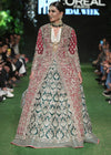Indian wedding outfit in red and green color for wedding wear # B3416