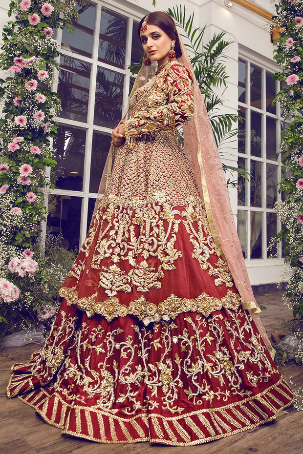 Latest beautiful Indian designer wedding dress in crimson red color # B3457
