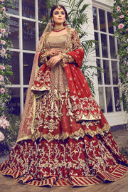 Latest beautiful Indian designer wedding dress in crimson red color