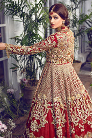 Latest beautiful Indian designer wedding dress in wine red color # B3458
