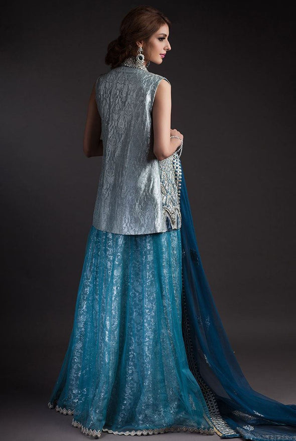 Alluring Jacket lehnga dress in blue and silver color # B3331