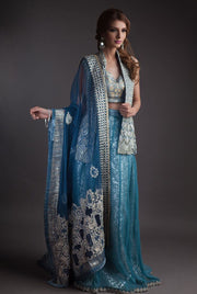 Alluring Jacket lehnga dress in blue and silver color
