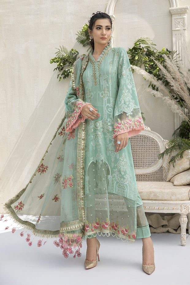 Jacquard Embroidered Dress in Sea Green Color