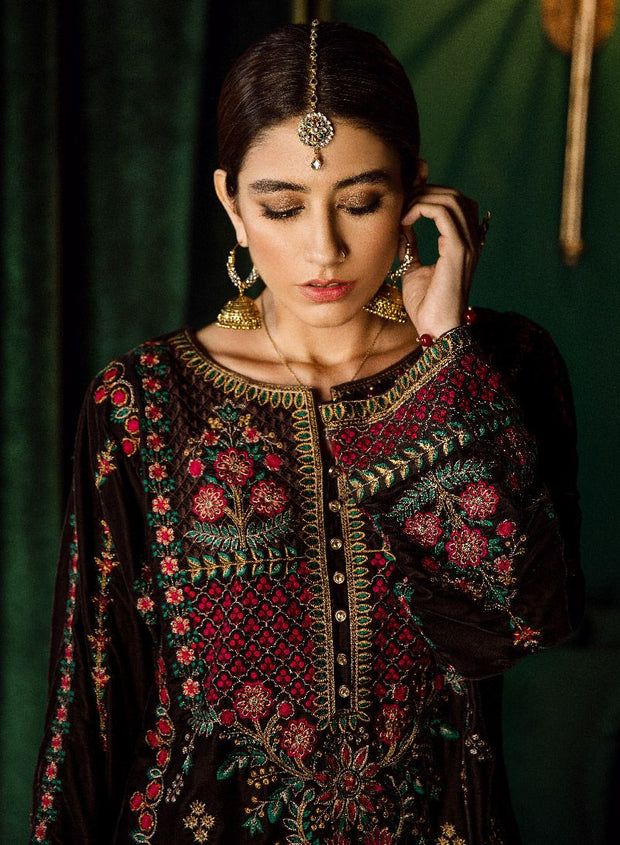 Beautiful Pakistani jamawar and velvet embroidered dress in brown color # P2465