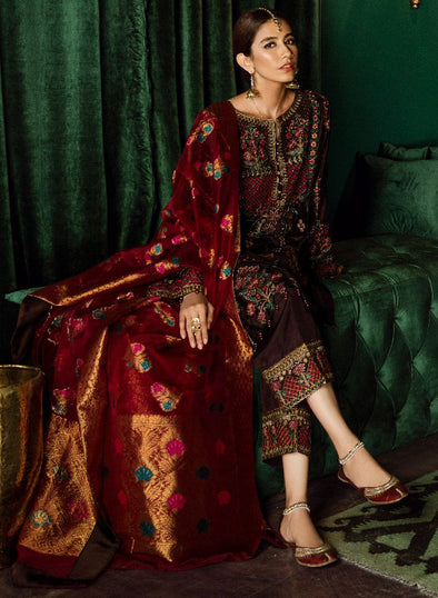 Beautiful Pakistani jamawar and velvet embroidered dress in brown color