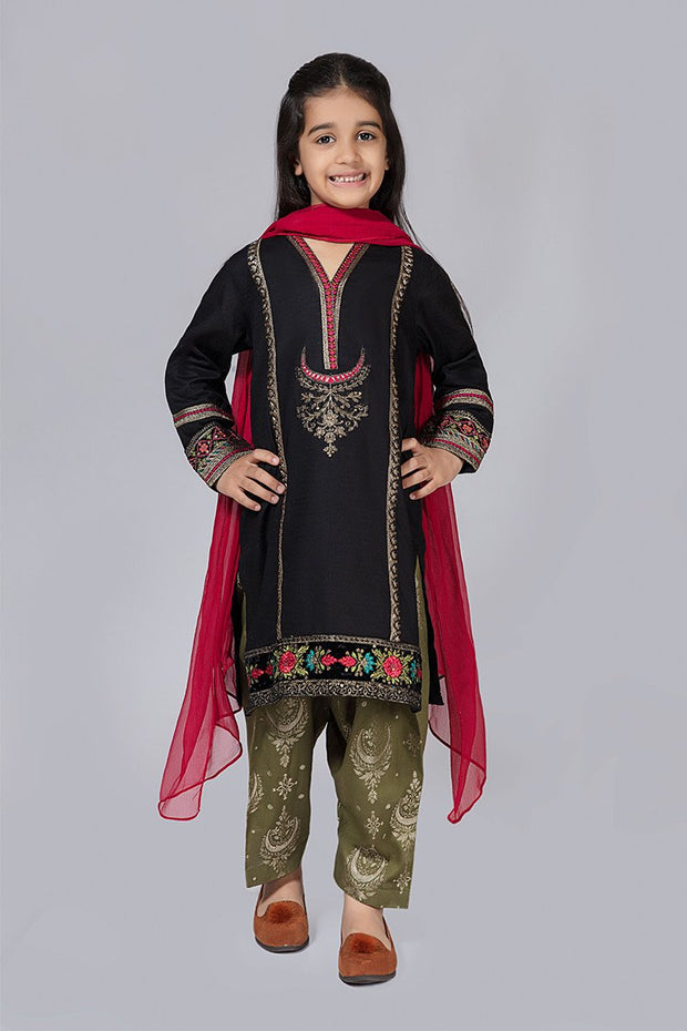 Kids Black Fancy Suit for Eid