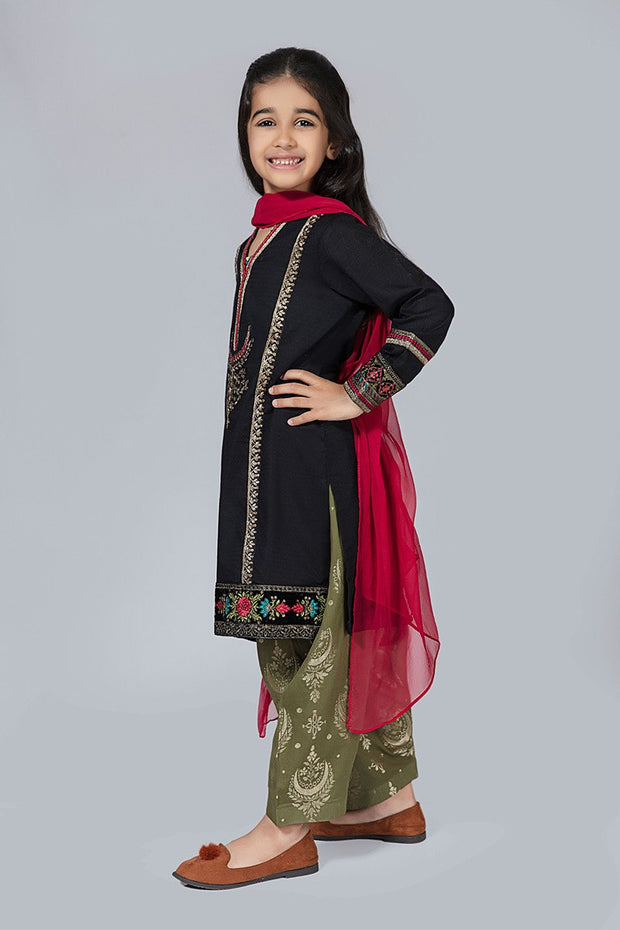 Kids Black Fancy Suit for Eid  Side Pose