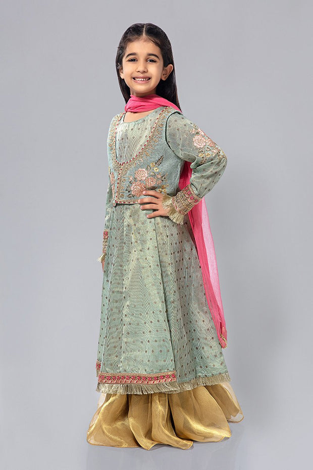 Kids Chiffon Dress for Eid in Blue Color Overall Look
