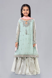 Kids Chiffon Dress for Eid in Sky Blue Color