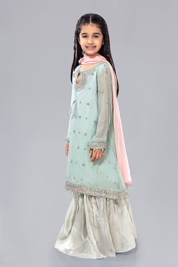 Kids Chiffon Dress for Eid in Sky Blue Color Side Pose