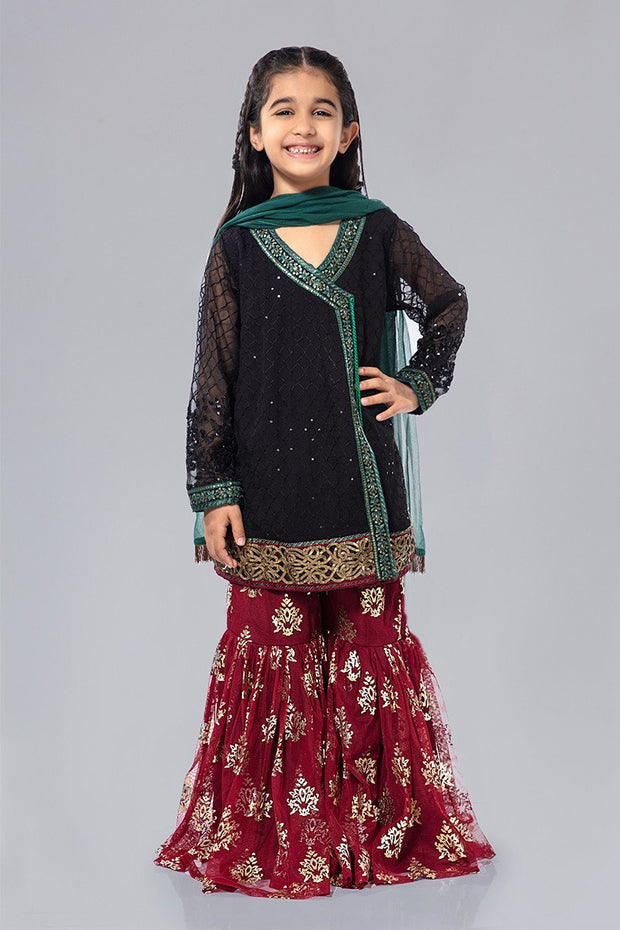 Kids Chiffon Party Wear in Black Color