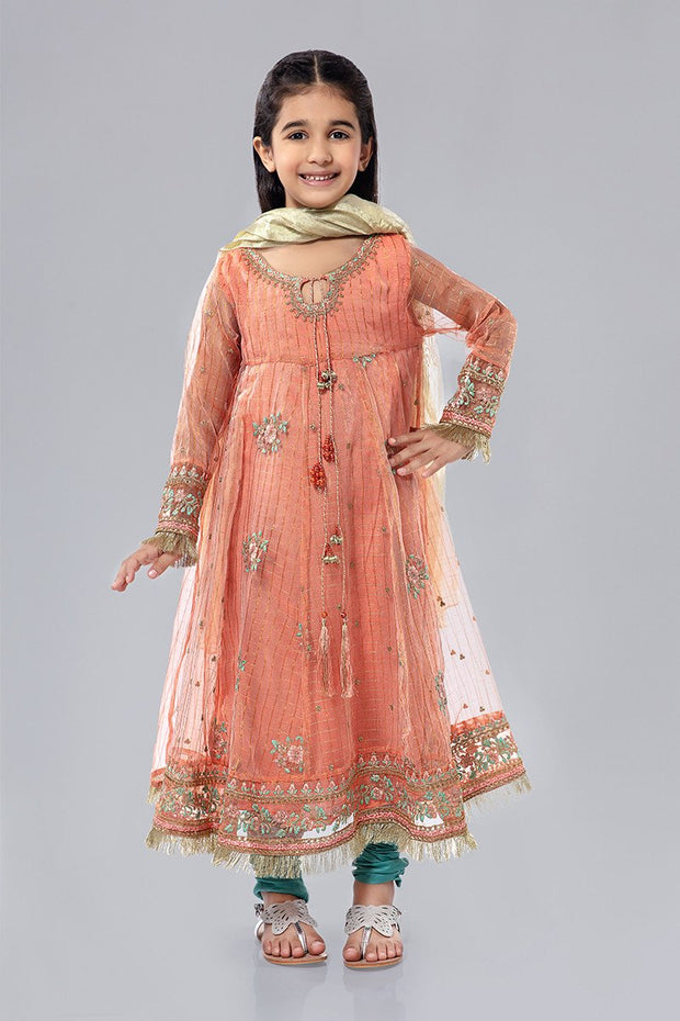 Kids Cotton Net Frock in Peach Color
