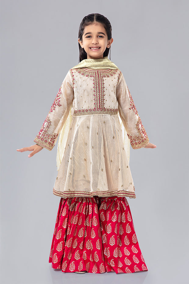 Kids Fancy Frock for Eid in Off White Color