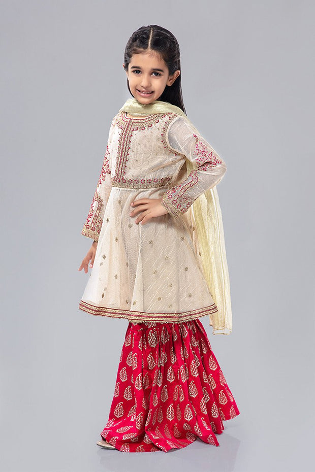 Kids Fancy Frock for Eid in Off White Color Overall Look