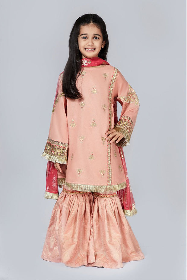 Kids Gharara Dress for Eid in Peach Color