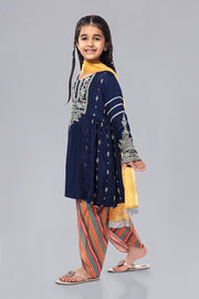 Kids Latest Eid Dress in Blue Color Side Pose