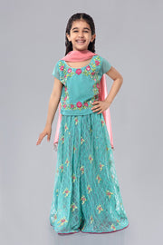 Kids Lehnga Kurti for Eid in Turquoise Color