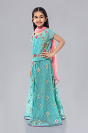 Kids Lehnga Kurti for Eid in Turquoise Color Side Pose