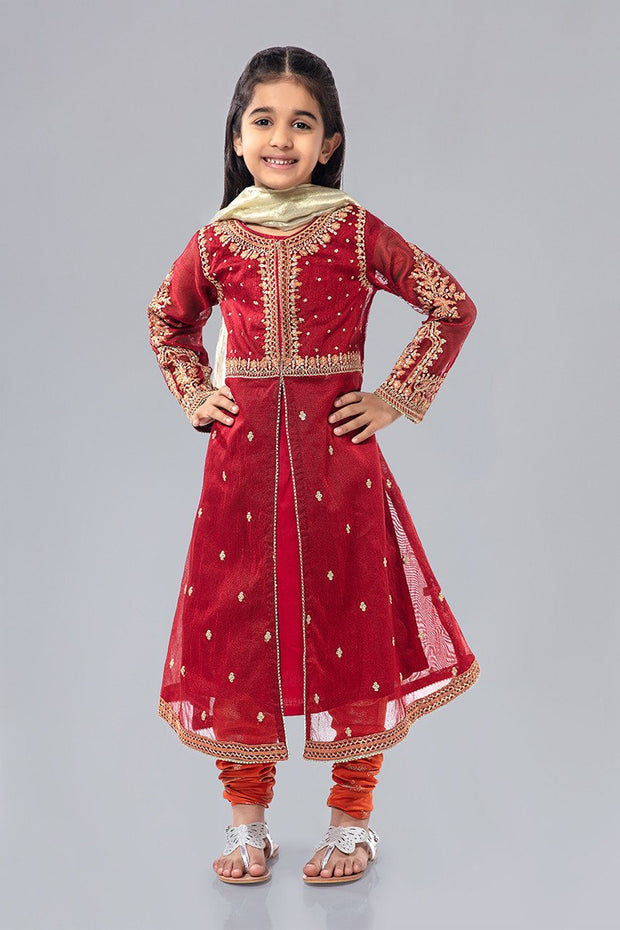 Kids Net Frock for Eid in Maroon Color