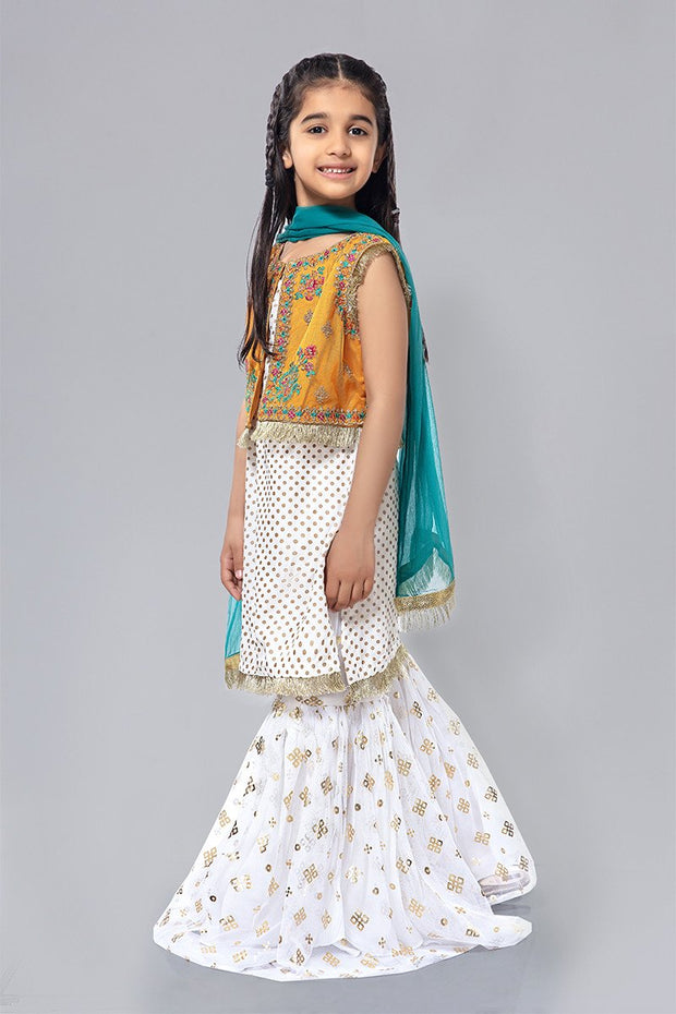 Kids White Gharara Dress for Eid