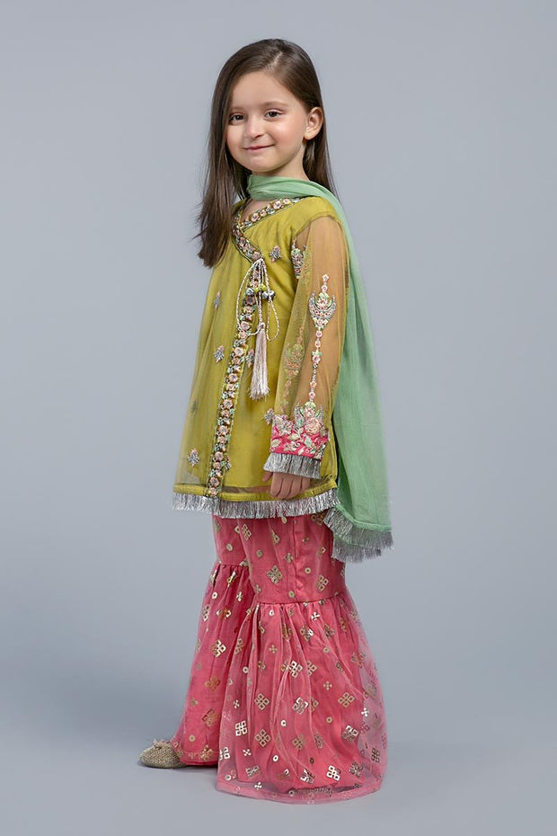 Kids Eid Frock with Gharara in Elegant Design Side Pose