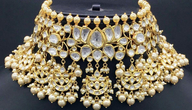 Stunning Indian Kundan Choker Necklace with Pearls