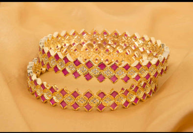 Kundan Gold Plated Bangles Set
