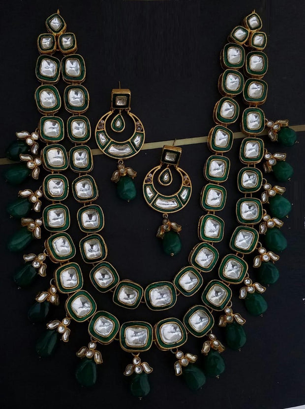 Kundan Haar with Green Pearls