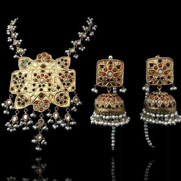 Kundan Mala Necklace Set with Multi Stones