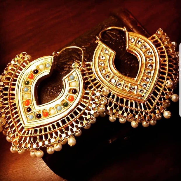Kundan Meenakari Earrings with Pearls