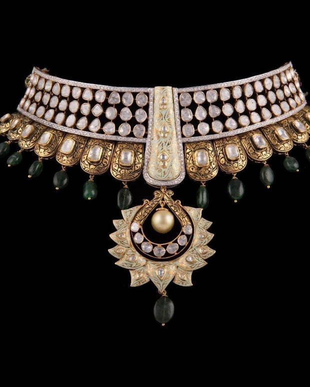 Kundan Polki Necklace with Pearls