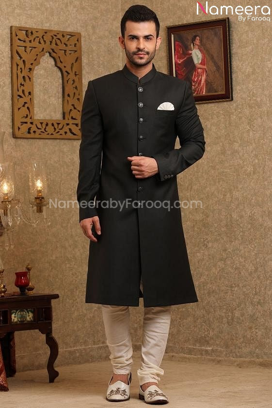 Latest Black Sherwani for Wedding Online 2021 Front Look