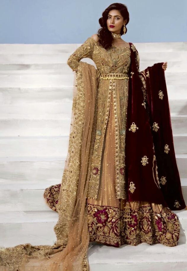 Latest Bridal Frock Lehnga With Embroidery