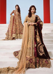 Latest Bridal Frock Lehnga With Embroidery Velvet Shawl