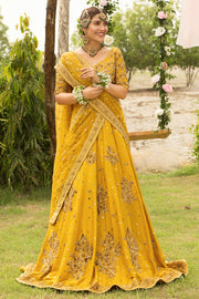 Latest Bridal Mehndi Lehnga in Yellow Color #Y6059