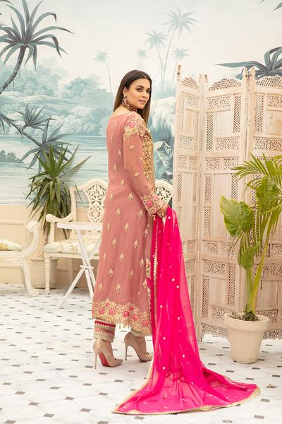 Latest Chiffon Eid Dress 2020 for Women Backside View