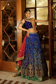 Latest Embroidered Lehnga Choli in Blue Color