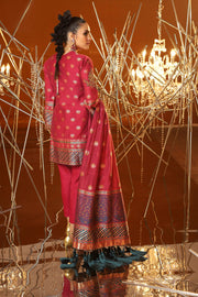 Latest Jacquard Eid Outfit in Magenta Color Backside View