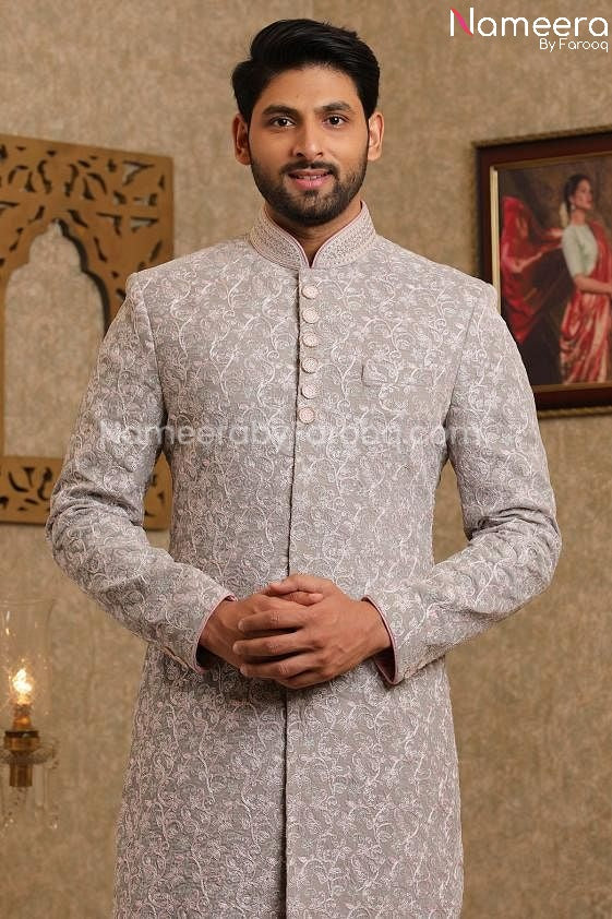 Latest Men's Wedding Sherwani for Groom Online Close up View