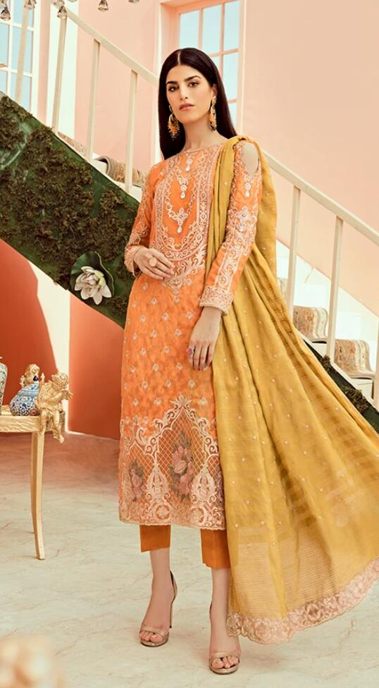 Latest Orange Chiffon Party Wear