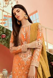 Latest Orange Chiffon Party Wear  Close Up